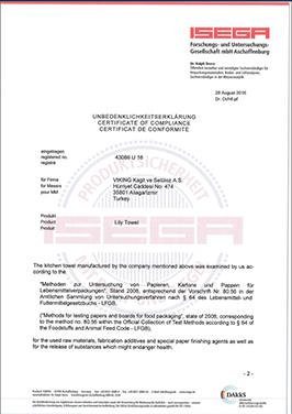 ISEGA-FOOD CONTACT COMPLIANCE CERTIFICATE